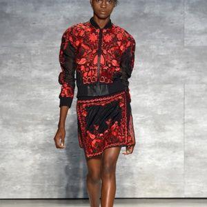 💙Skingraft EPIC runway sheer floral leather coat